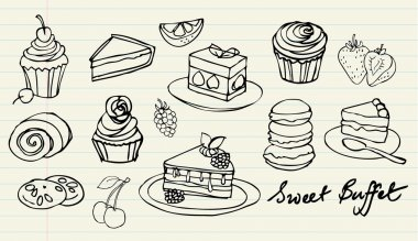 Cakes and bakery doodle