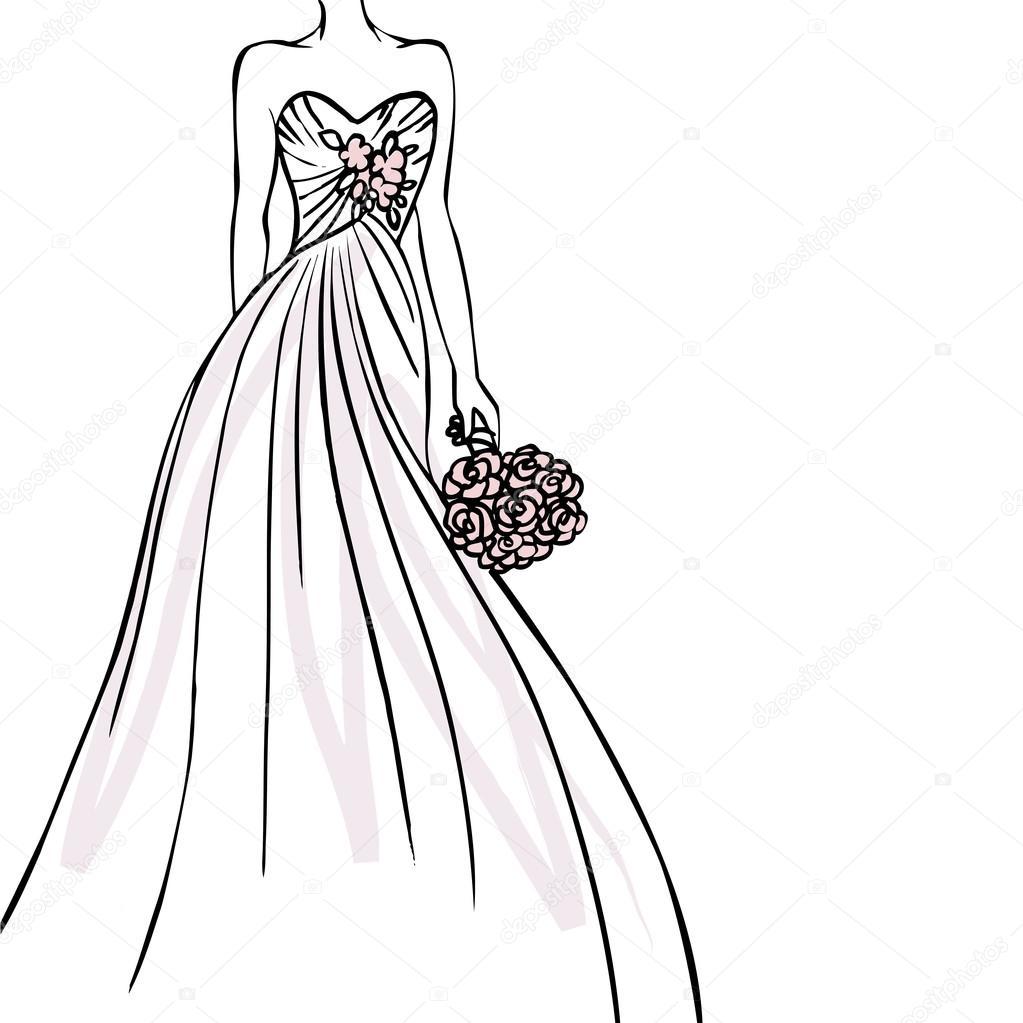 novia vestido de novia — Vector de stock © OMW #48665001