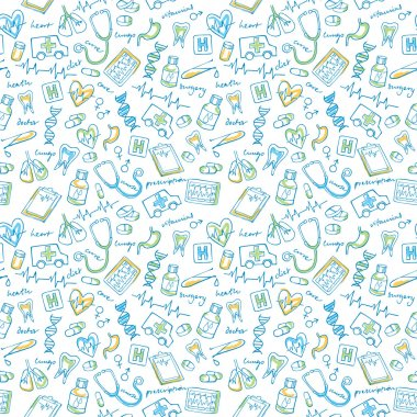 Medical icons vector seamless pattern background clip art vector