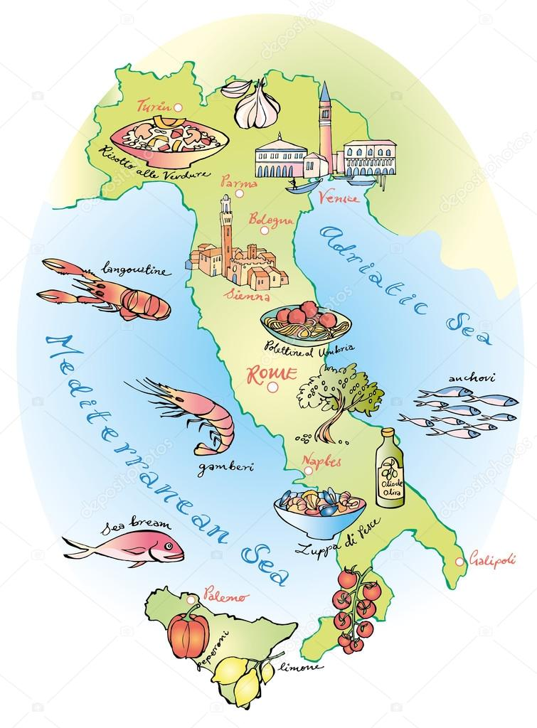 Food Map Of Italy Stock Vector C Omw 48696341