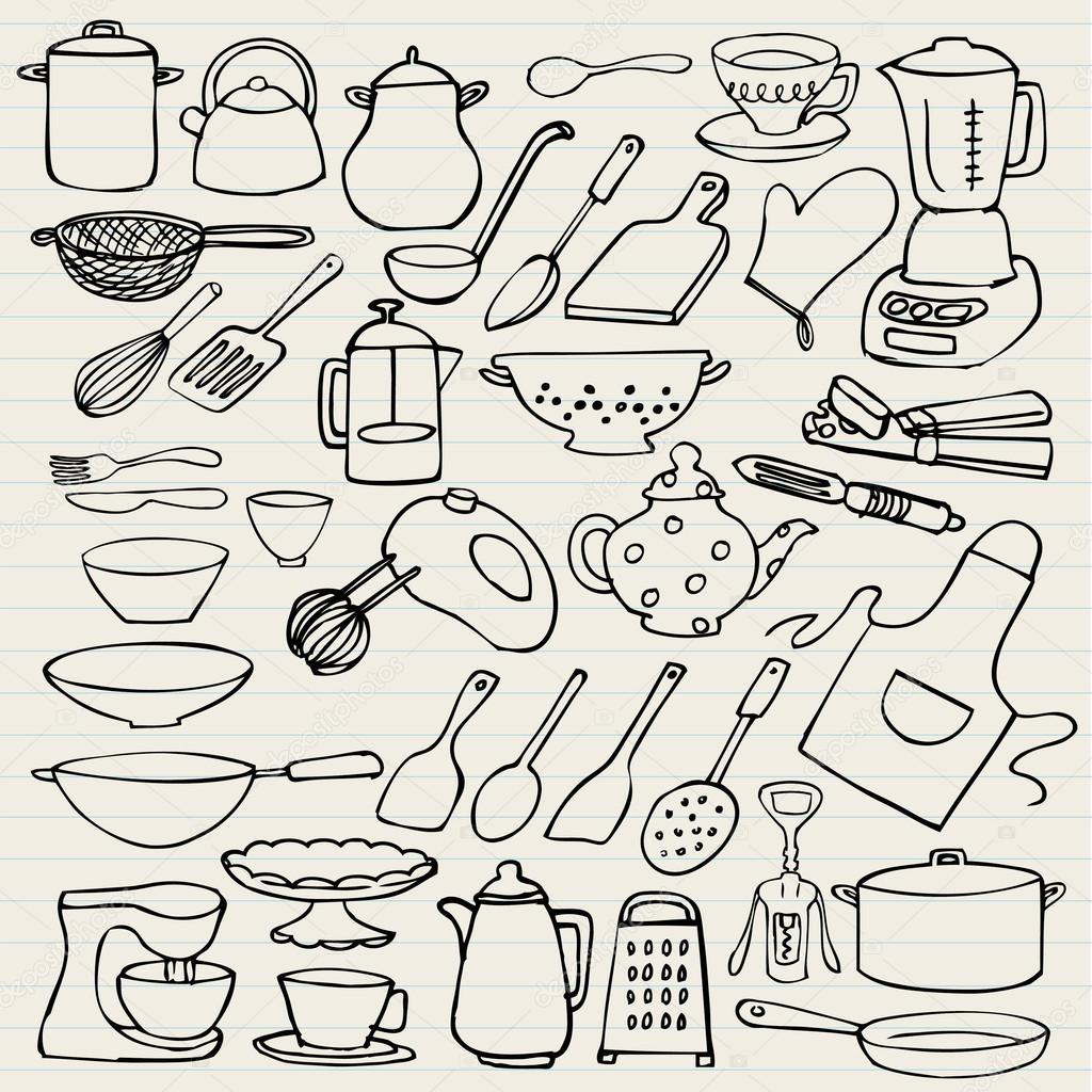 Elementos de cocina doodle archivo im genes vectoriales for Elementos de cocina para chef