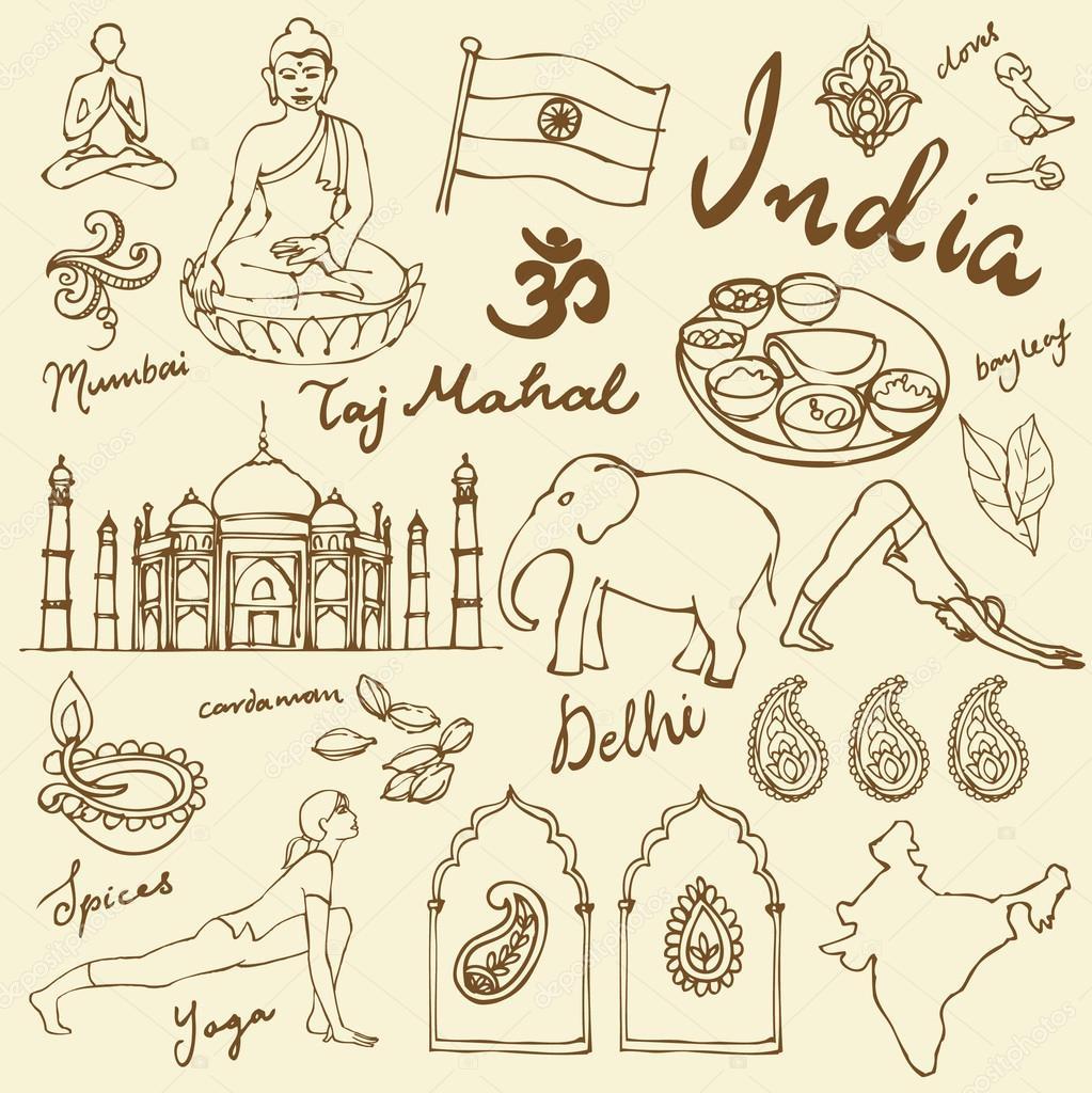 India icons illustration