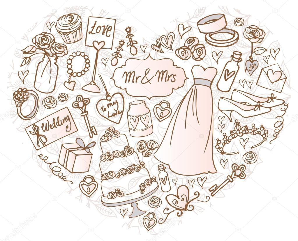 Hochzeit Symbole Im Herzen Stockvektor C Omw 48731473