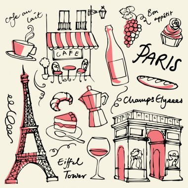 Paris landmarks icons