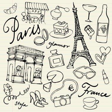 Set of Paris landmarks