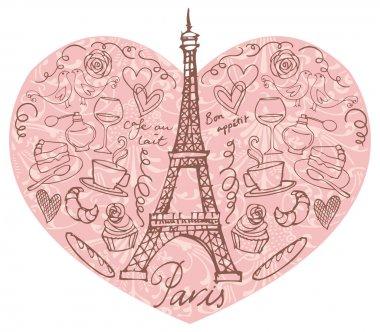 Paris  icons in heart shape