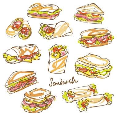 Sandwich doodle background