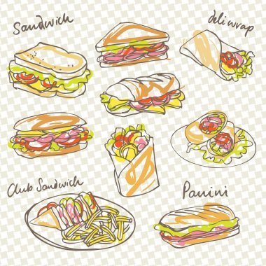 Sandwich doodle background
