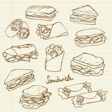 Vector sandwich doodle stock vector