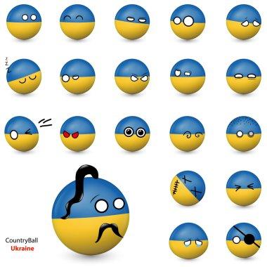 Country Ball - set of smileys Ukraine