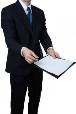 Businessman giving a document to you on white background