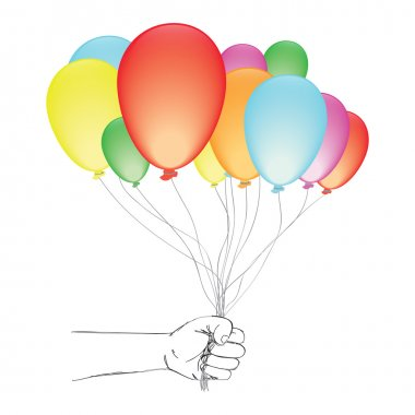 Hand holding a balloons