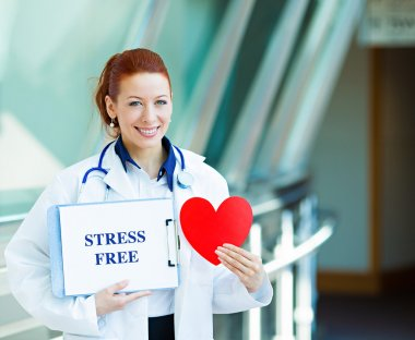 Female doctor with stresss free sign