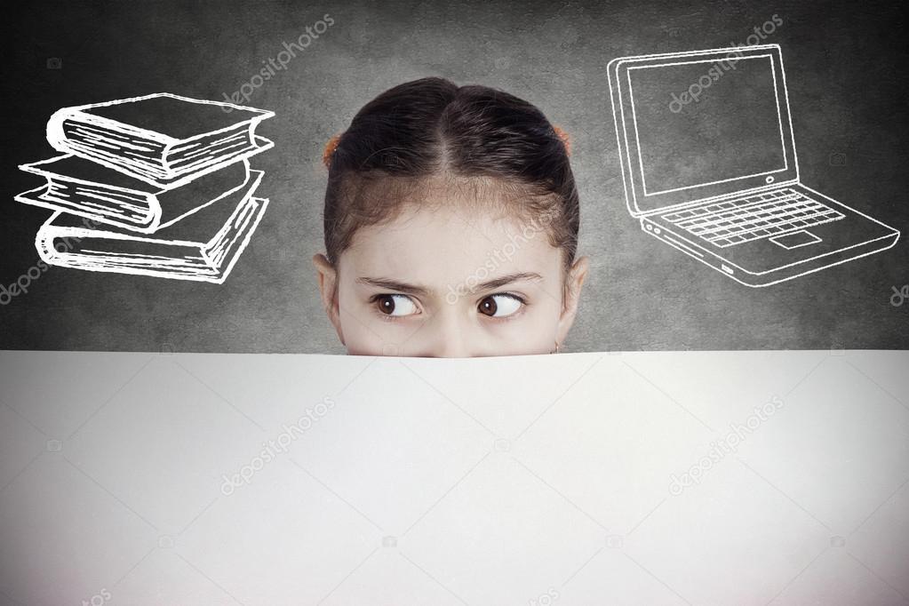 Portrait curious, suspicious young girl, student, school pupil