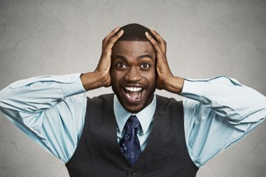 Shocked, surprised business man
