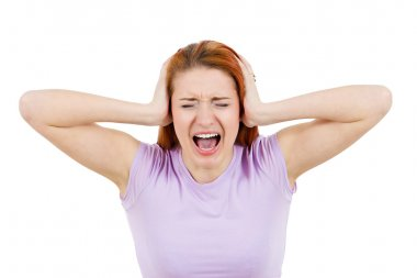 Stressed, screaming young woman