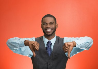 Happy man giving thumbs down