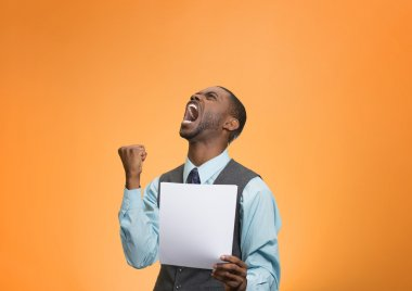 Angry customer, executive man screaming holding document, paper