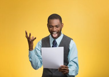 Excited happy man holding document, receiving goood news