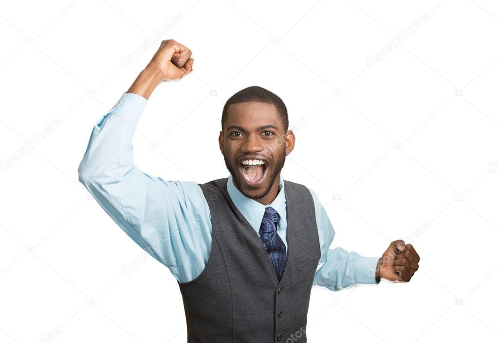 Excited happy man celebrates success, good outcome