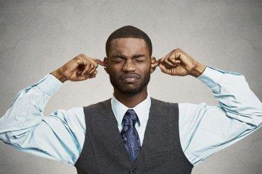 Man Closing Ears Avoiding Unpleasant Conversation, Situation