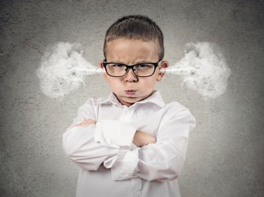 Closeup portrait Angry young Boy, Blowing Steam coming out of ears, about have Nervous atomic breakdown, isolated grey background. Negative human emotions, Facial Expression, feeling attitude reaction stock vector