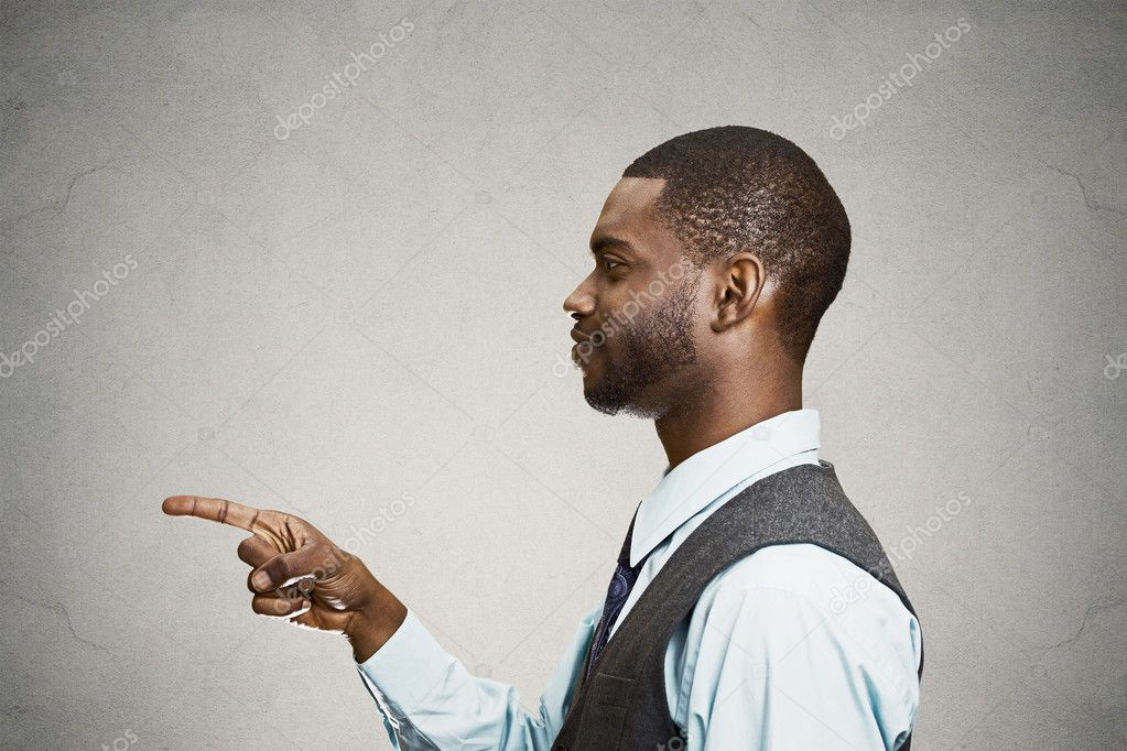 Man pointing finger at someone