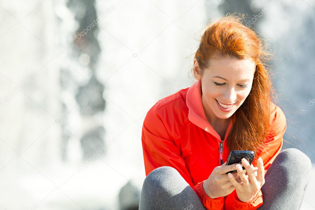 Happy Woman Texting on Phone