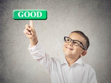 Boy clicks on Good Button