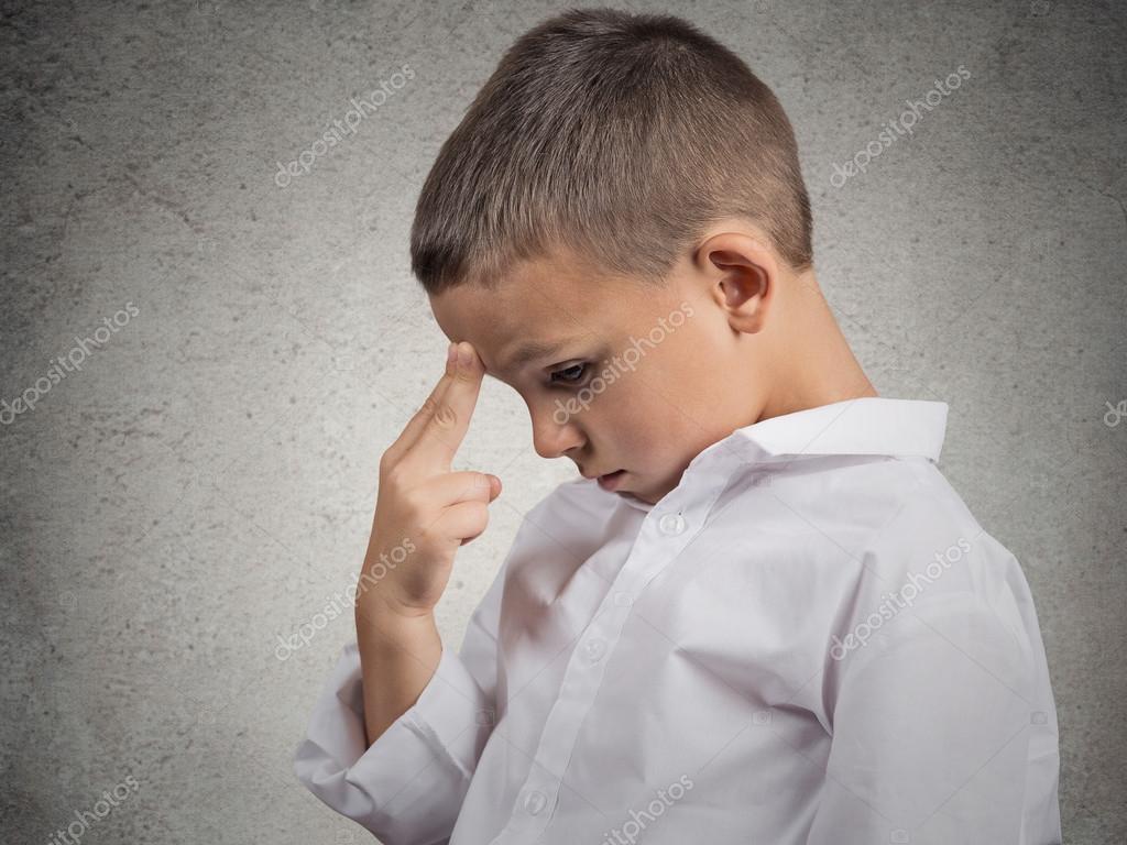 Problems. Boy thinking