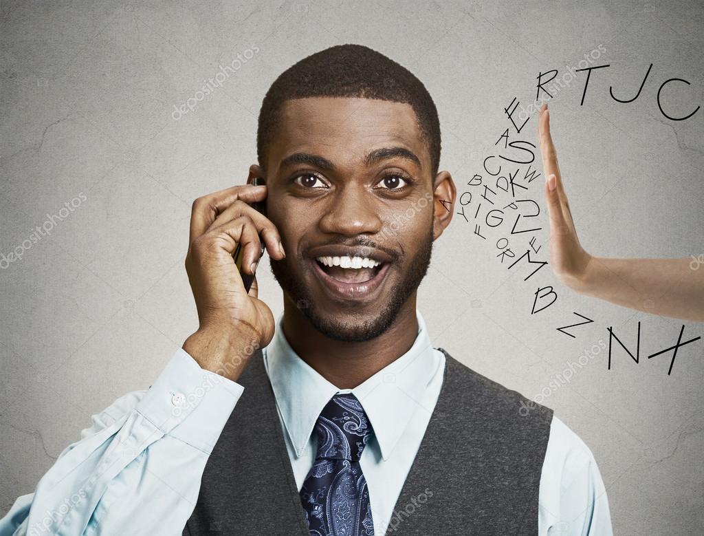Man having fruitless conversation on a phone