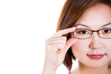 Asian woman wearing glasses.