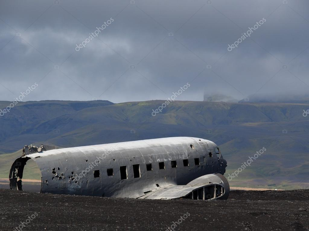 Wreck of a crashed US military plane