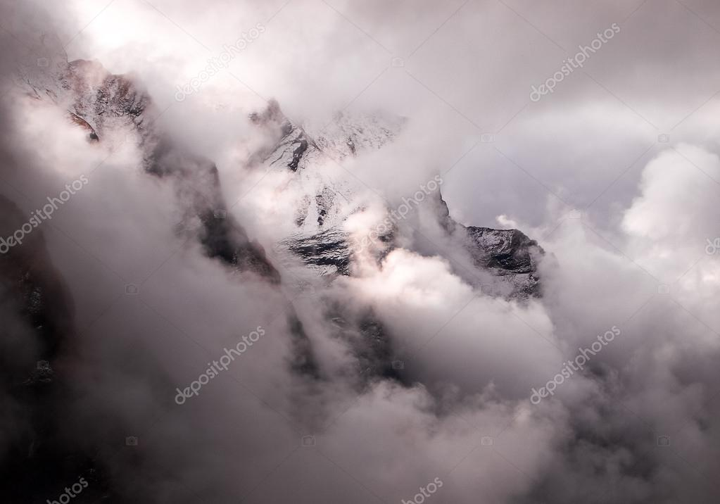 Mountain fog and clouds