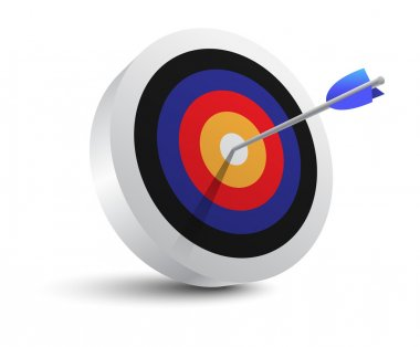 Target aim and arrow. Successful shoot. Vector Illustration