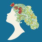 Fényképek a virágok swirly haj nő sziluett