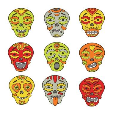 "Картина, постер, плакат, фотообои ""Мексиканские черепа смайликов"", артикул 49502033"