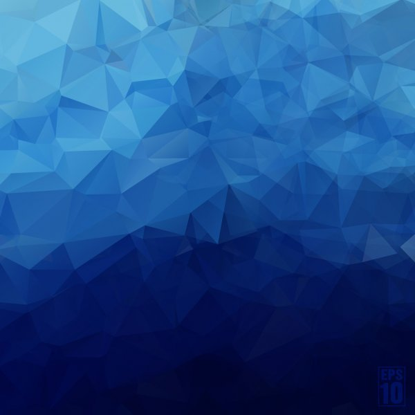 Abstract geometric background of triangles in blue colors.