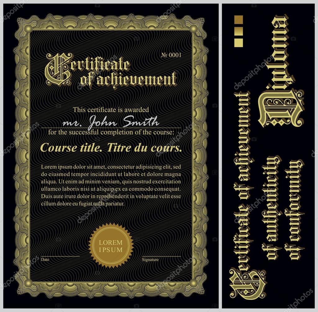 schwarz und gold-Zertifikat. Vorlage. vertikale. zusätzliche Design ...