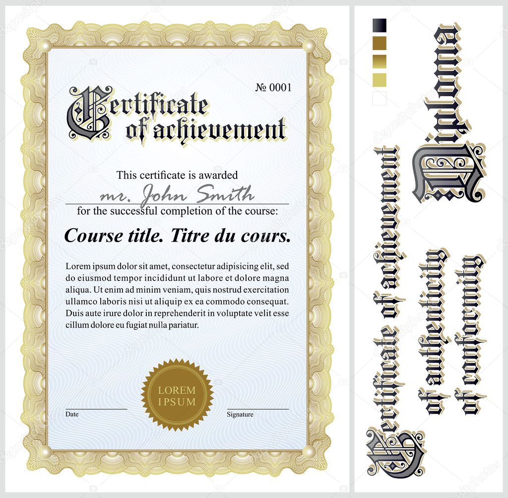 Gold Certificate Template Vertical Additional Design Elements