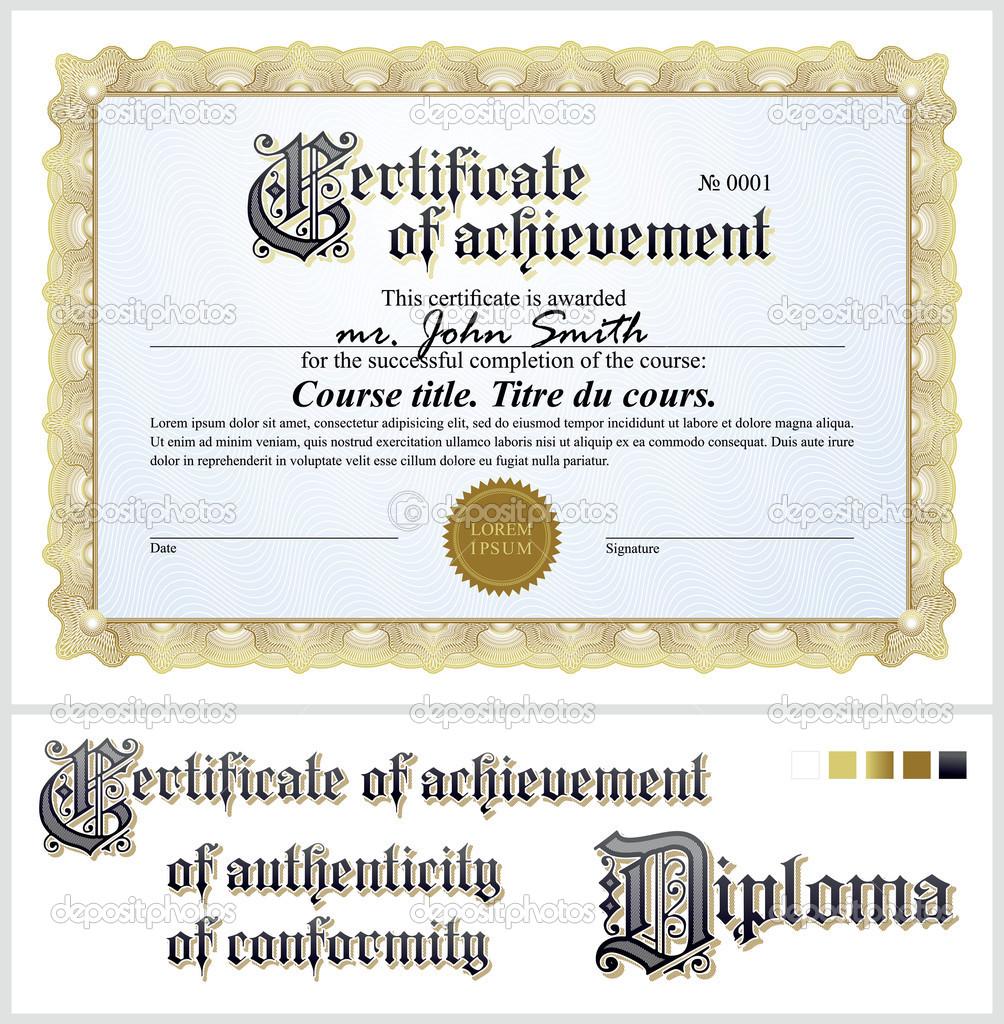 Gold-Zertifikat. Vorlage. horizontale. zusätzliche Design-Elemente ...