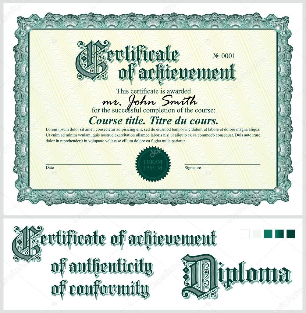 grüne Zertifikat. Vorlage. horizontale. zusätzliche Design-Elemente ...