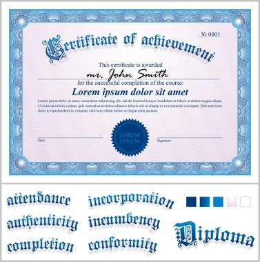 Vector illustration of blue certificate. Template. Horizontal.