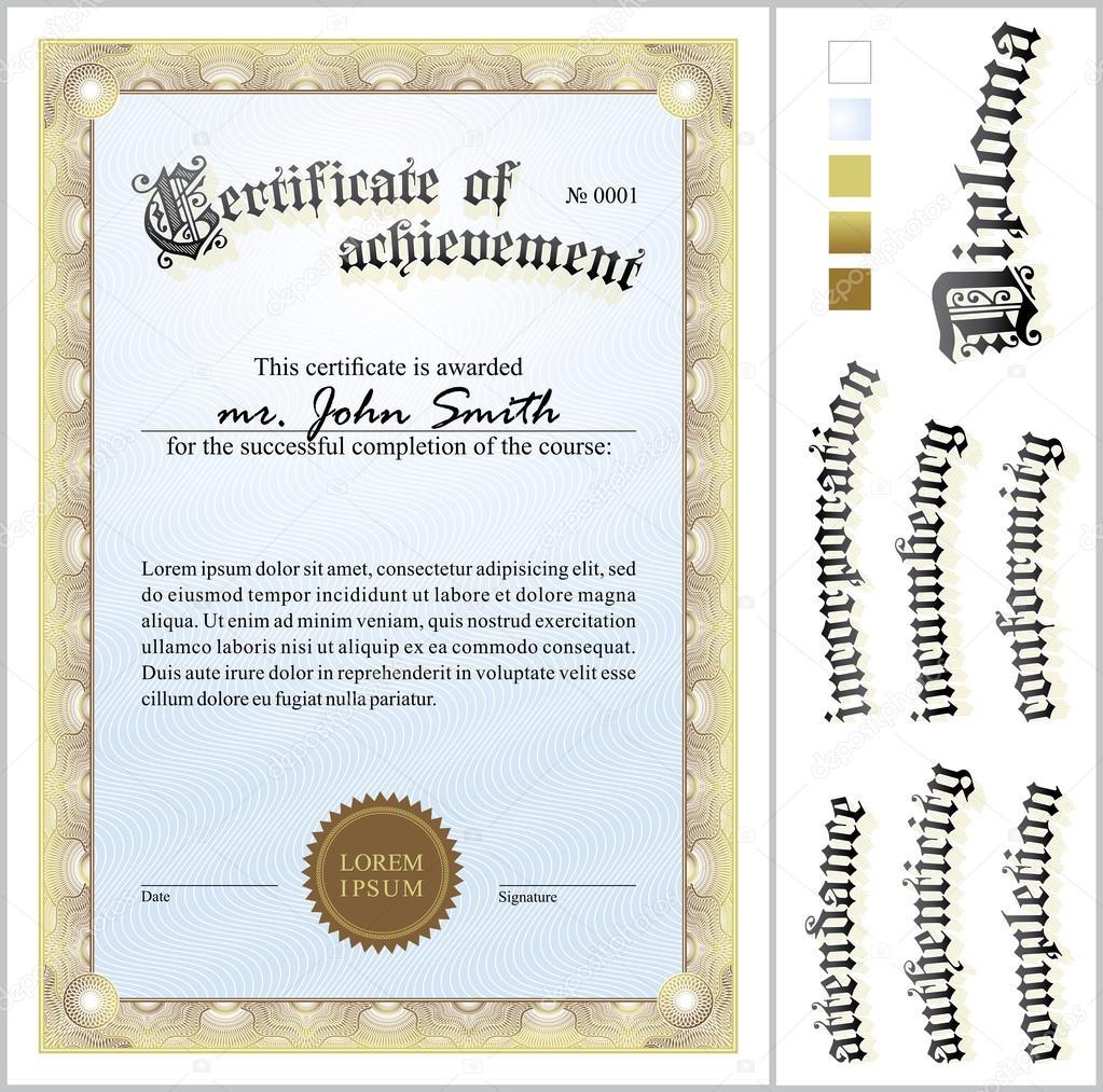 Vektor-Illustration von gold-Zertifikat. Vorlage. vertikale ...