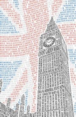 Big Ben of the names of London attractions. Vector