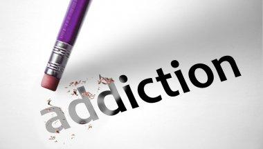 Eraser deleting the word Addiction