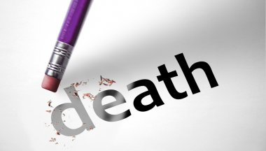 Eraser deleting the word Death stock vector