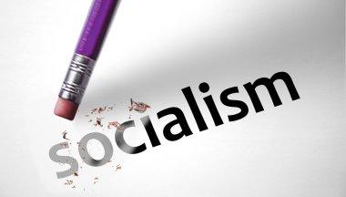 Eraser deleting the word Socialism