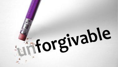 Eraser changing the word Unforgivable for Forgivable