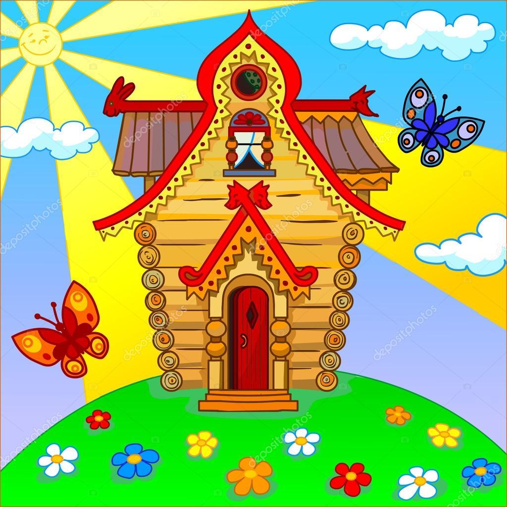 Illustrazione di una casa cartone animato su un prato